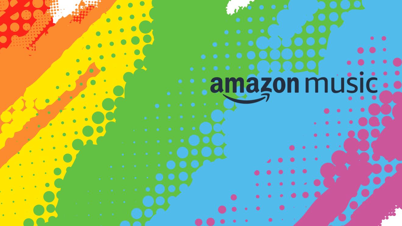 The Amazon Music logo superimposed over a splashy LGBTQ Pride rainbow colored background