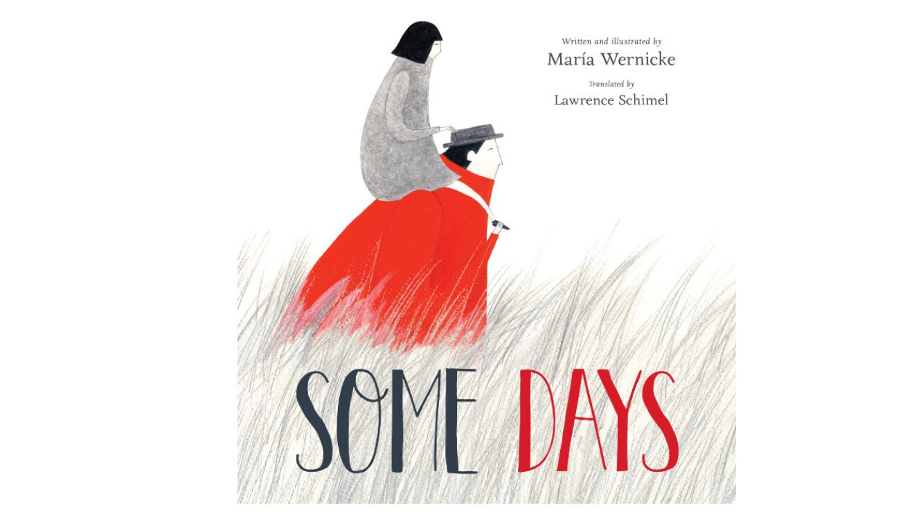 """The book cover """"Some Days"""" features a young girl with short dark hair wearing a gray jacket on the shoulders of an adult wearing a red jacket and gray hat. They are walking through tall grass."""