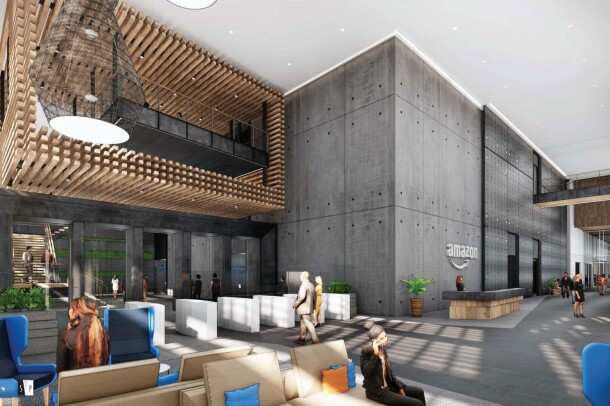 A rendering of what the main lobby will look like at the new Amazon office in Nashville, Tennessee.