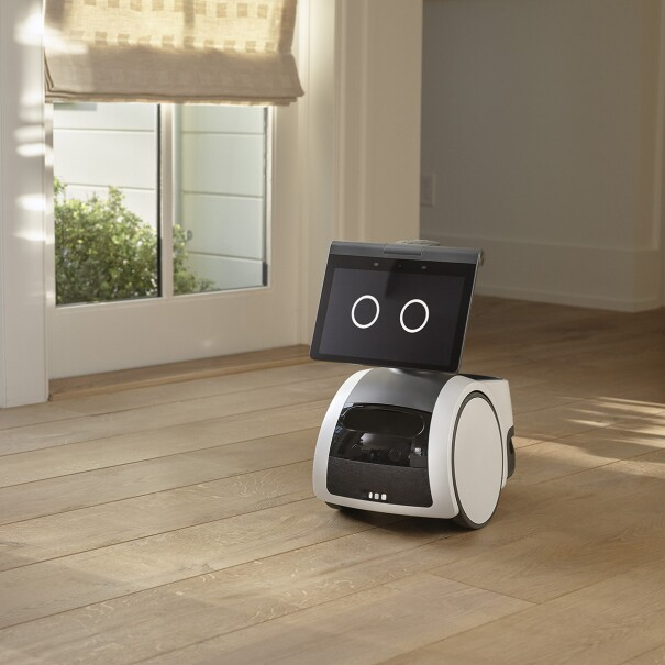 An Amazon Astro bot in a home setting