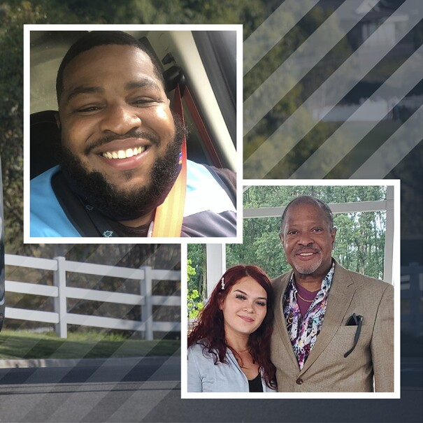 An image of an Amazon deliver van with two additional images laid on top of it. The two additional images show a selfie of on of the drivers and an image of two people smiling for a photo.