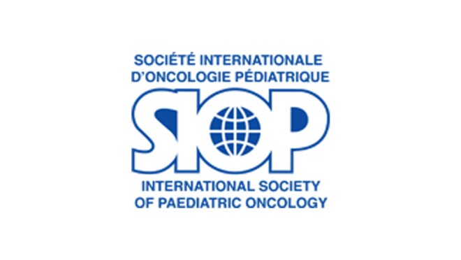 An image of the logo for the International Society of Paediatric Oncology. The logo says the name of the organization in French and in larger text says SIOP, with a glove inside of the O in that acronym.