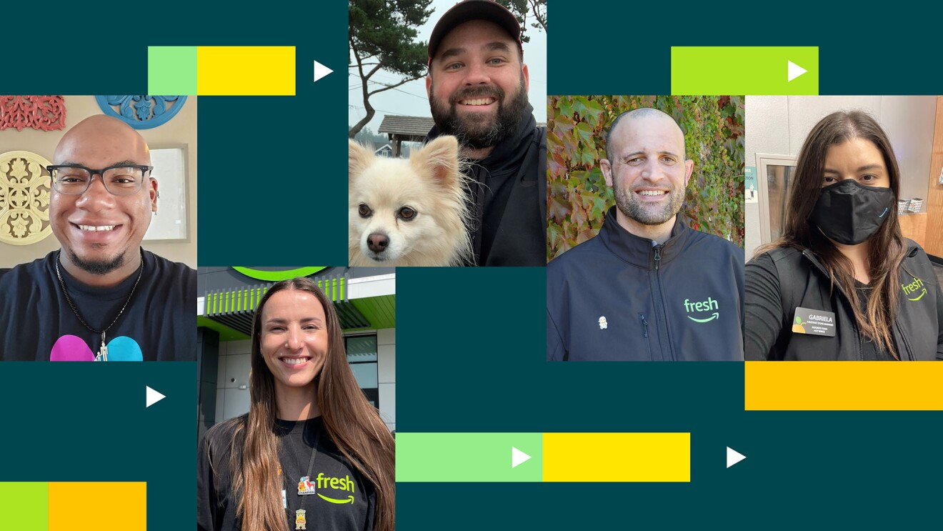 A collage image of Amazon Fresh Employees. They are all smiling for individual photos while wearing their Amazon-Fresh-branded clothing and name tags. Some are wearing masks and one employee has his Pomeranian dog in the photo.