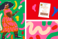 A split image with colorful blocks. One block shows an illustration of a woman dancing, the other a coffee, the other illustrated lines.