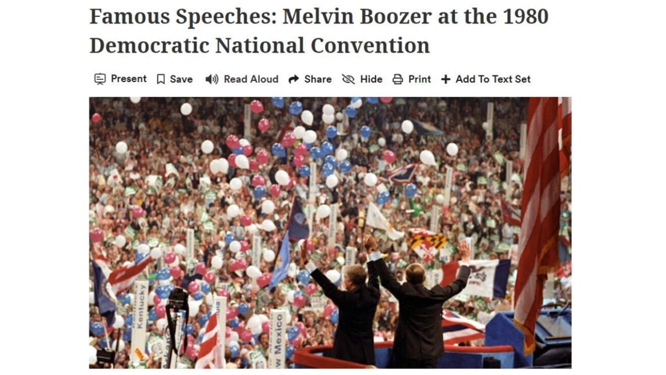 """A newspaper clipping from the 1980 Democratic National Convention, the headline reads """"Famous Speeches: Melvin Boozer at the 1980 Democratic National Convention."""""""