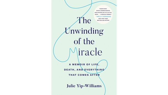 """Book cover for """"The Unwinding of the Miracle"""" it shows the text in a serif font in dark blue, on a seafoam background. A thread meanders across the page, creating two loops, and the letter """"M"""" in miracle."""