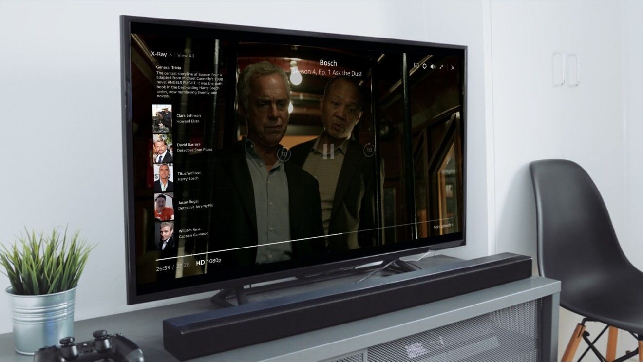 X-ray features on Fire TV include behind-the-scenes, exclusive content, and more, displayed on a television.