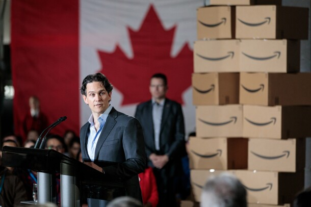 Amazon Vice President of Amazon Canada and Mexico at the announcement of the creation of 3,000 additional Amazon jobs in Vancouver, British Columbia, Canada on April 30, 2018.