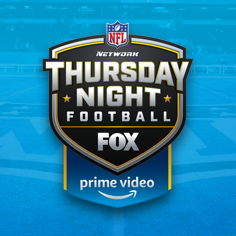 A drop shadow of a football field with a NFL Thursday Night Football logo, FOX logo and Prime Video logo