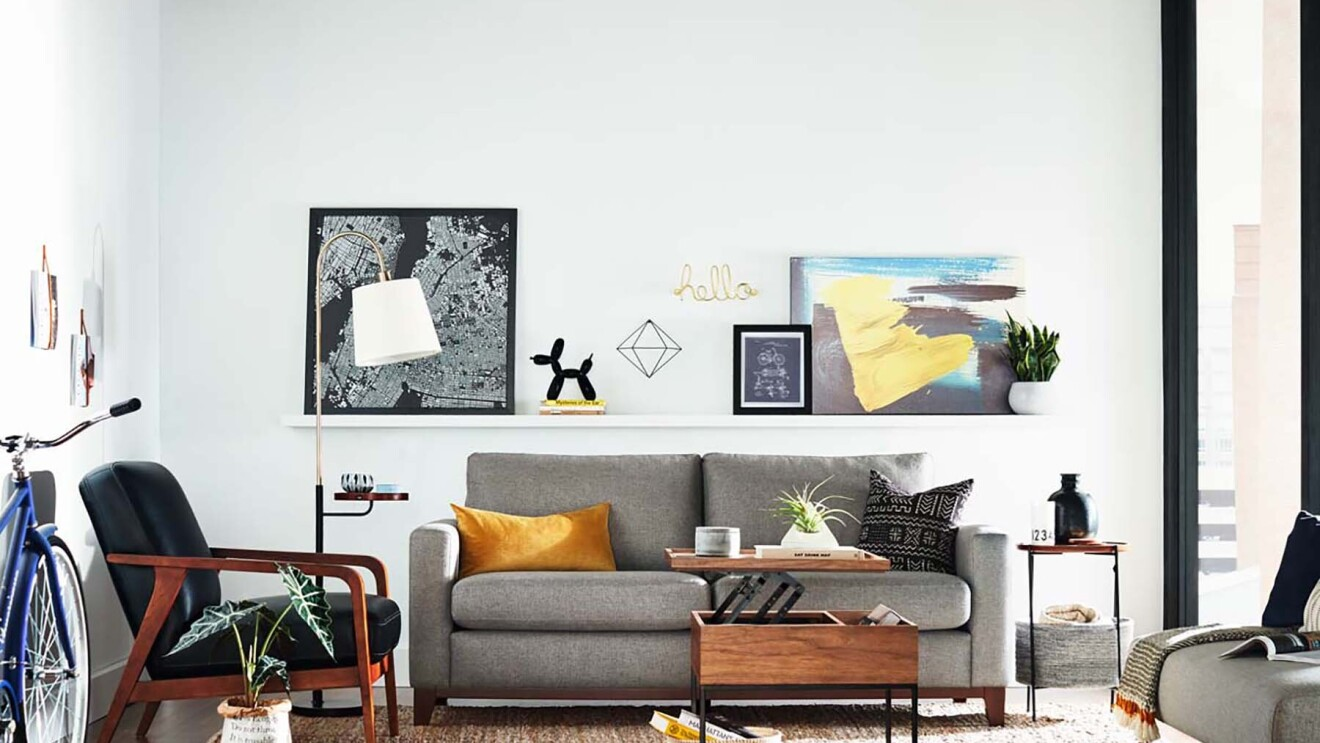 An interior room scene, highlighting a collection of Rivet home decor items.