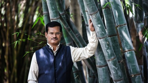 Man in blue vest standing next to trees
