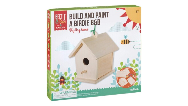 An image of a box with a wooden bird house on it and product labeling