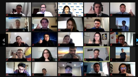 A video conference call, showing more than two dozen individuals participating in AWS re/Start cloud education.