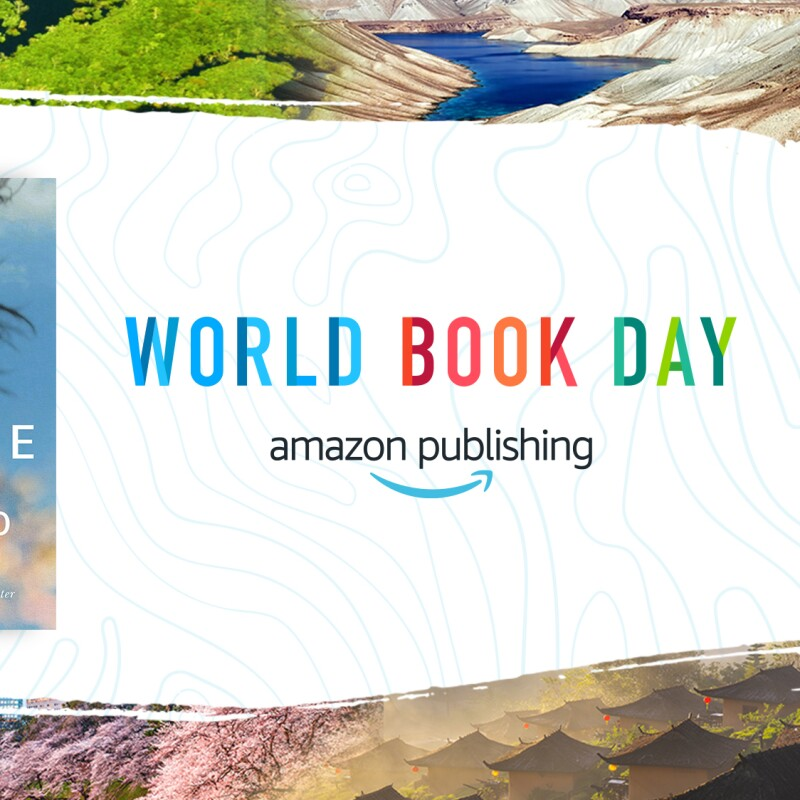 """Images from around the world border the font that reads """"World Book Day"""" by Amazon Publishing. There are three books to the left of the font on the image."""