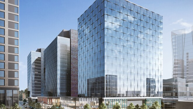 Rendering of new building in Bellevue, WA, which Amazon has rented to expand employee workspaces.
