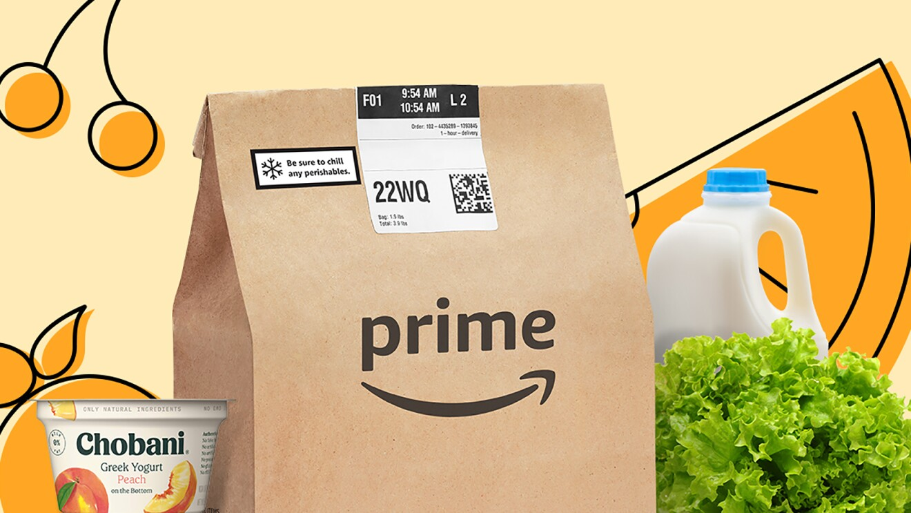 Amazon Prime delivery bag with Chobani yogurt, lettuce, and milk jug next to it. Background is an illustration of fruit.
