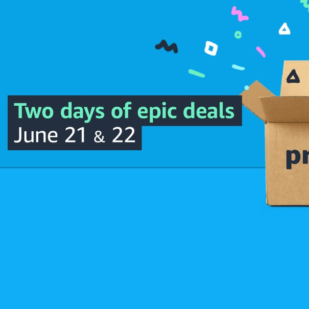 """Prime Day box opening with graphics 'exploding' out of the box. The image has a blue background and a text overlay that reads """" Two days of epic deals June 21 & 22"""""""