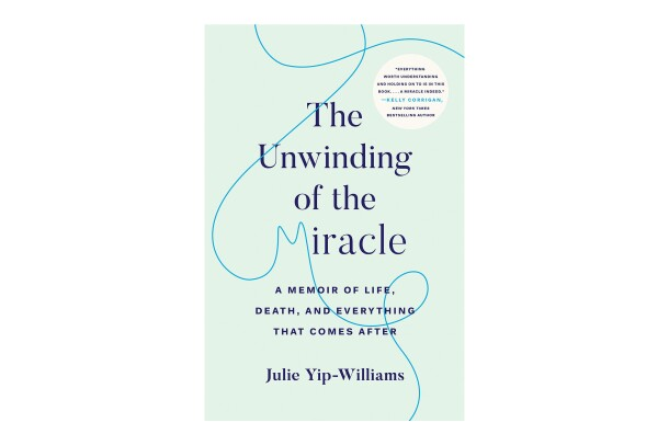 "Book cover for ""The Unwinding of the Miracle"" it shows the text in a serif font in dark blue, on a seafoam background. A thread meanders across the page, creating two loops, and the letter ""M"" in miracle."