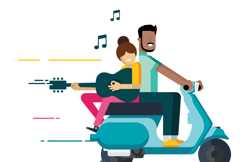 A man rides a scooter, with a woman sitting on the back, while playing a guitar