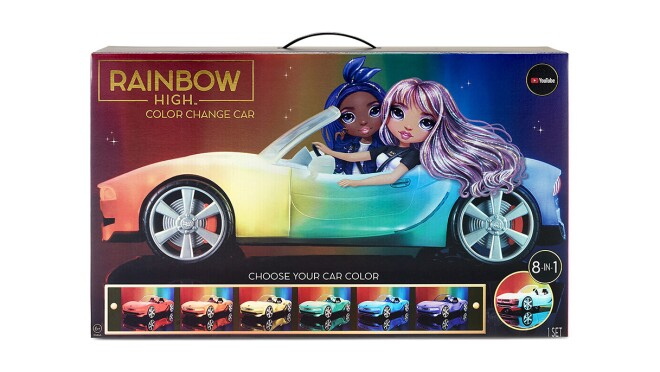An image of the box for the Rainbow High Color Change Car toy. It shows two cartoon women driving the car.