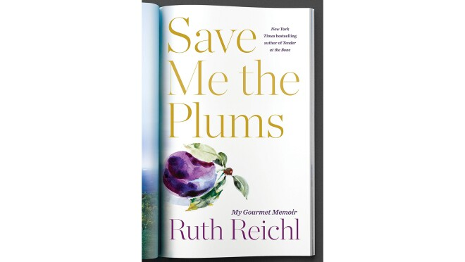 """Book cover for """"Save Me the Plums"""" by Ruth Reichl. The title is in gold serif font, above a painting of a plumb with leaves, the author's name is in purple font, all on a white background. The title gives the illusion of a page from a magazine, folded over."""