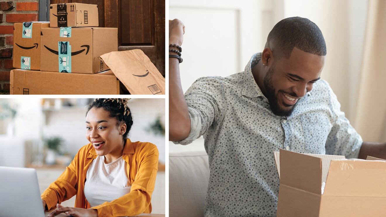 A collage of three images showing amazon boxes, and customers ordering online and opening boxes.
