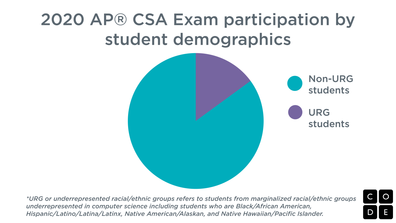 A pie chart showing demographics of CSA exam participants.