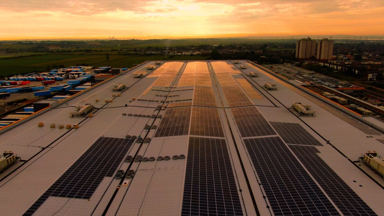 An overhead image of the solar panels above the Tilbury FC at sunrise.