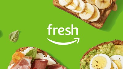 Amazon Fresh logo against a green background with food
