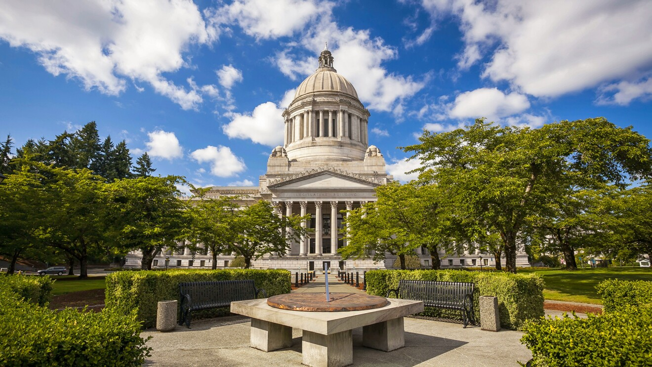 View of Washington state's State Capitol in Olympia