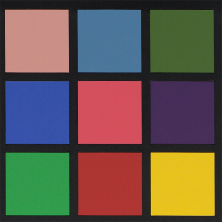 Squares of different colors are arranged in a three-by-three configuration. The colors are separated by black lines.