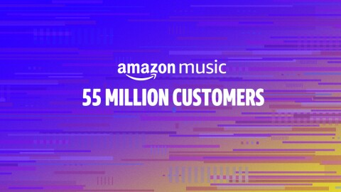 "A graphic visual background of blues, fading into purple, pink, and orange, with text overlay that says ""Amazon Music - 55 million customers"""
