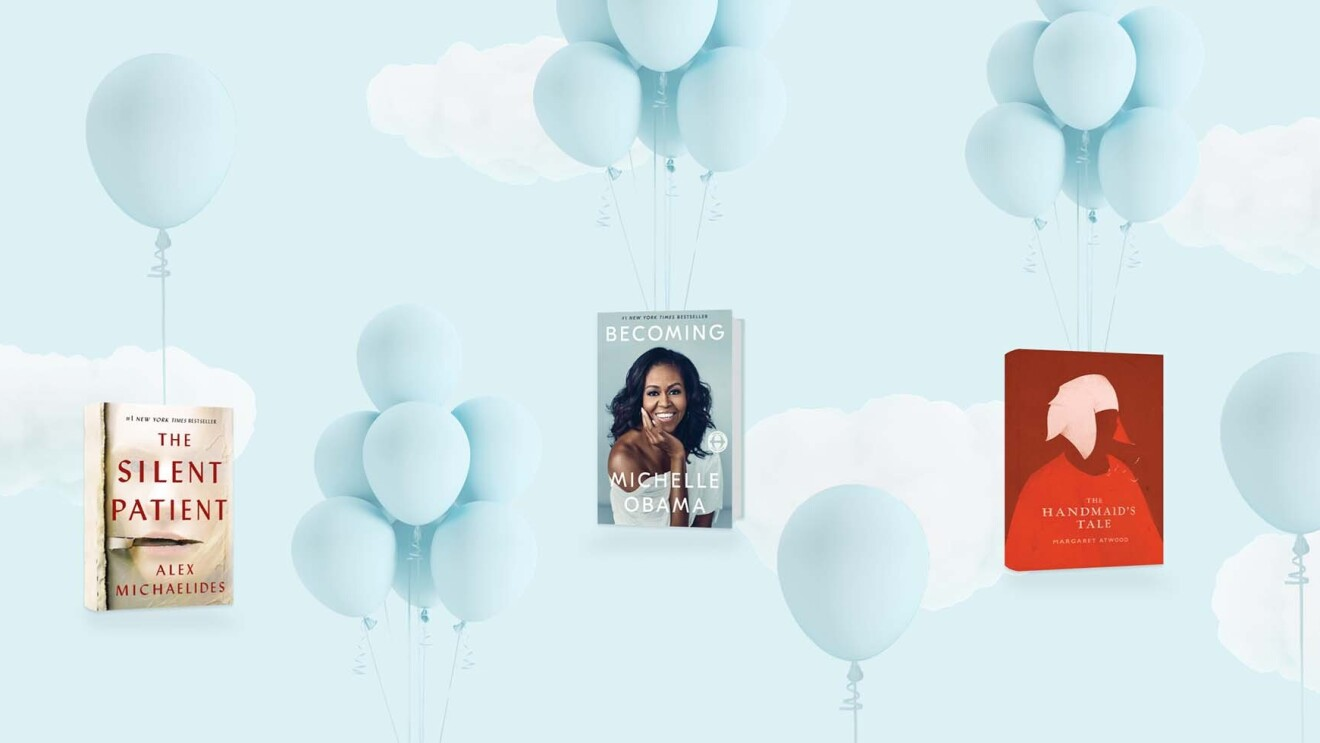A designed image showing light blue balloons against a clouds-on-blue backdrop. Three books appear in the image - The Silent Patient, Becoming, and The Handmaid's Tale.