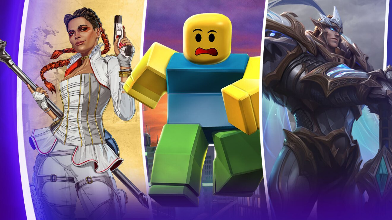 Three graphic characters from video games. A woman with red braids, a white outfit and a gun, A lego character running, and a man in a medieval costume and laser eyes.