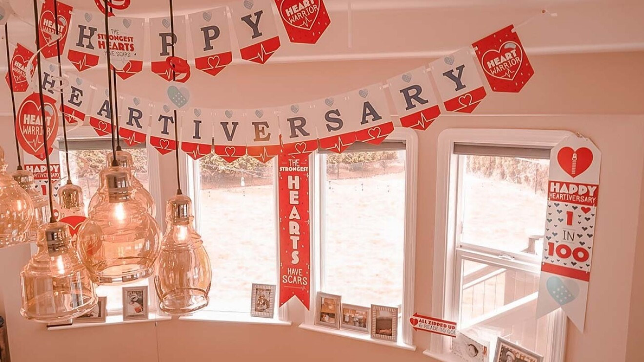 """Party decorations for a """"heartiversary"""" party."""