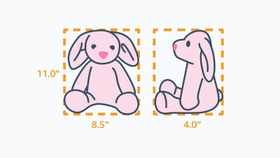Illustration of the measurements of a pink stuffed animal bunny. Length 8.5 inches, Width 4.0 inches, and Height 11.0 inches.