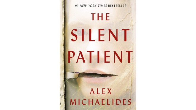 """Book cover for """"The Silent Patient"""" by Alex Michaelides, a woman's face appears to show from under a gauzy material, with a tear near the mouth. The Title and authors' name are in sans-serif red font in all caps."""