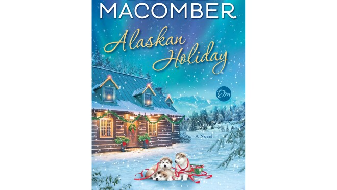 """""""Alaskan Holiday """" book cover, shows a cozy cabin with festive lighting, in front of the house sit three husky dugs, cuddled together on a blanket of snow. Snow falls gently around the home and dogs."""