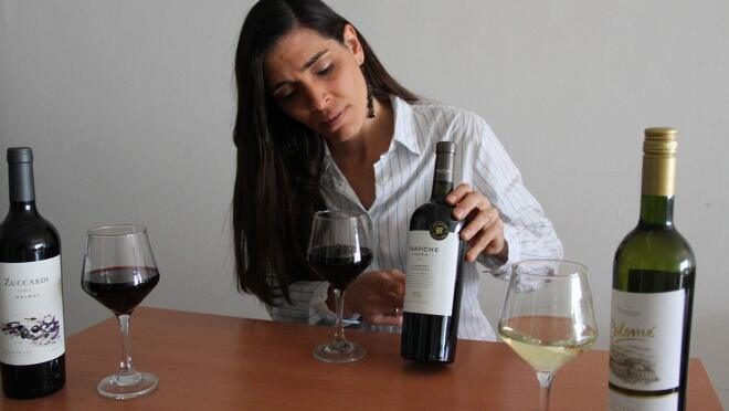 A woman sits at a table with three wine glasses of various colors and two bottles for a virtual wine tasting.