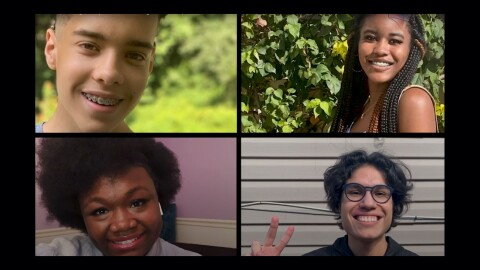 Four students who participated in an Amazon Future Engineer program