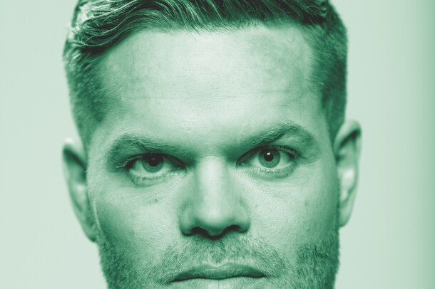 "Wes Chatham, from the Amazon Originals series ""The Expanse"" poses for a photo. The image has been treated with a green filter."