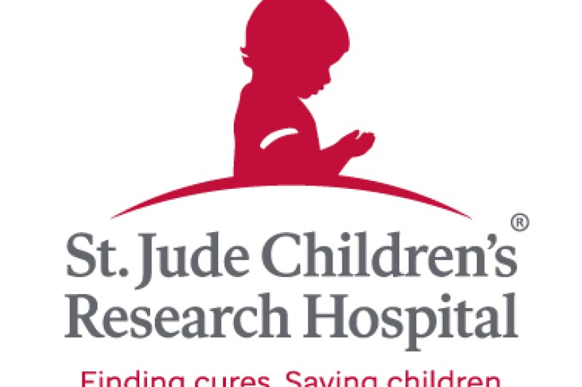 A boy in red over the words St. Jude Children's Research Hospital