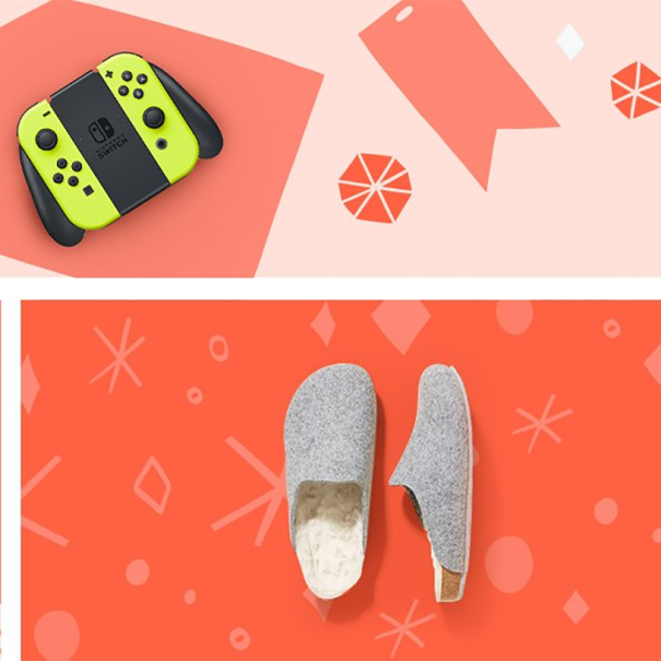 Black Friday deal items on a coral background, including headphones, fragrance, Nintendo Switch controller, and slippers