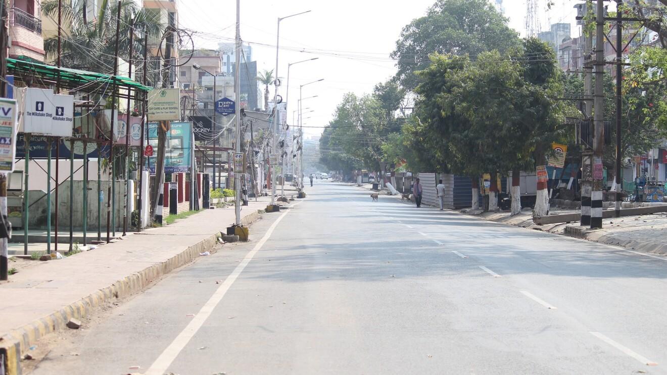COVID lockdown - an empty street in India