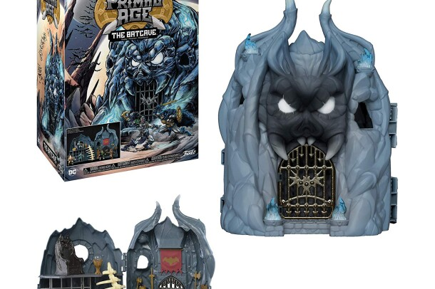 One of many Funko Pop! Primal Age items, a Batcave stylized action figure playset that stands nearly two feet tall and includes space for multiple Funko Pop! Primal Age characters.