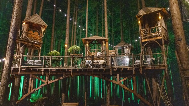 Nighttime view of series of connected wooden structures build into a forest.
