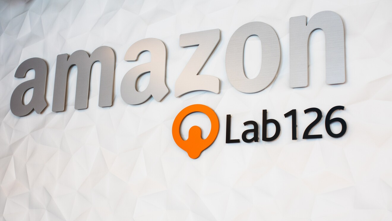 """Signage with the words """"Amazon"""" and """"Lab126."""""""