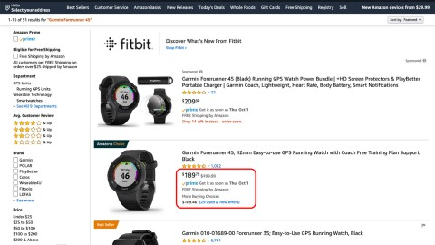 Amazon product page - Garmin device
