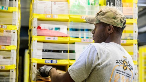A US Army Veteran and Amazon Fulfillment Associate working in Baltimore, MD