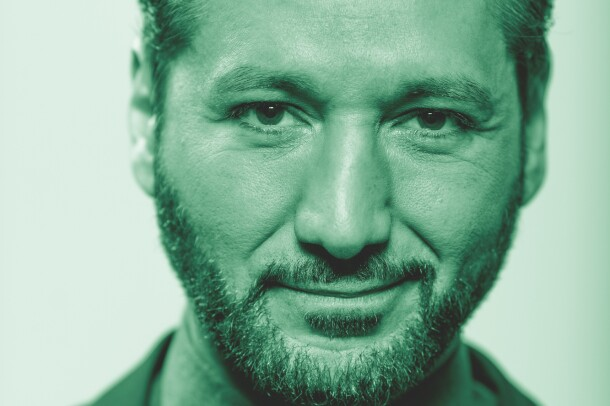 Cas Anvar, actor from the Amazon Original series, The Expanse. The photograph has been treated with a green tint.